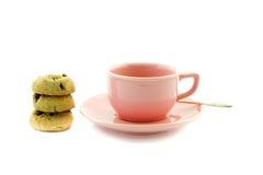 Liten kopp för rosa te Fotografering för Bildbyråer