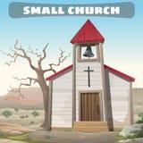 Liten kyrka i vildmarken, vilda västern Arkivbild