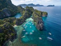 Liten lagun i El Nido, Palawan, Filippinerna Turnera a-rutten och förlägga Arkivfoton