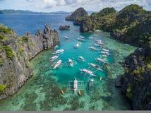 Liten lagun i El Nido, Palawan, Filippinerna Turnera a-rutten och förlägga Arkivbilder