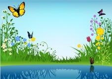 Liten Lake och fjärilar vektor illustrationer