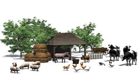 Liten lantgård med djur på en vit bakgrund Royaltyfri Bild