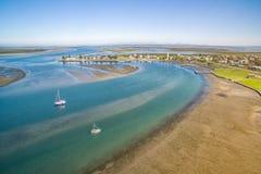 Liten lantlig fiskeport i Australien Royaltyfri Bild