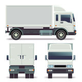 Liten lastbilframdel-, baksida- och sidosikt för lasttrans. Företags identitet för vektormall Royaltyfria Foton