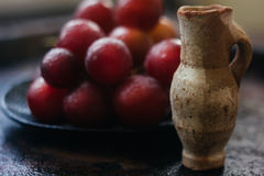 Liten leratillbringare bak druvorna Royaltyfri Bild
