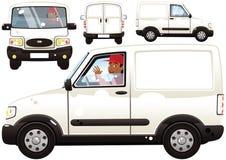 Liten leveransskåpbil och chaufför vektor illustrationer