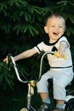 Liten lycklig pojke på cykeln Royaltyfria Foton