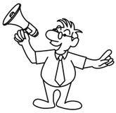 Liten man som talar i en megafon Royaltyfri Bild