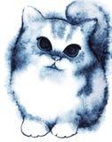 Liten marinblå vit fluffig tecknad filmkattunge för vattenfärg Royaltyfri Bild