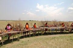 Liten marknad för Masai - Kenya - Afrika Royaltyfri Foto
