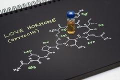 Liten medicinflaska för prövkopia för blått lock för närbild på anteckningsboken med kemisk formel arkivbild
