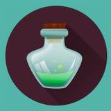 Liten medicinflaska med grön flytande halloween symbol Modiga symboler Royaltyfri Fotografi