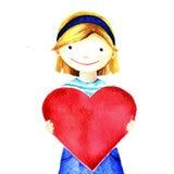 Liten nätt härlig le flicka som rymmer stor röd hjärta i hans händer Isolerad målad illustration för vattenfärg hand Arkivfoto
