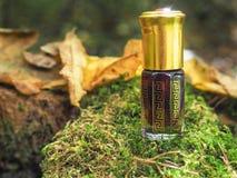 Liten oöppnad flaska med innehållet på den gröna naturliga bakgrunden En liten flaska av agarwoodolja på naturlig grön backgroun Arkivbilder