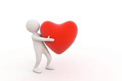 liten person 3d och röd hjärta Royaltyfri Bild