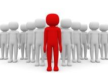 liten person 3d som ledare av ett lag som tilldelas med rött, färgar Arkivfoto