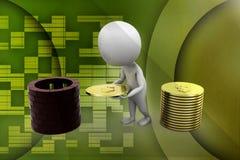 liten person 3d med en illustration för sköld och för guld- mynt Royaltyfria Foton
