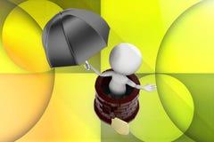 liten person 3d med en sköld och ett paraply nära slottillustrationen Royaltyfri Foto