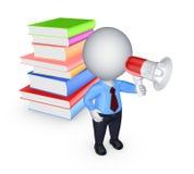 liten person 3d med megafon och färgrika böcker. Royaltyfri Foto