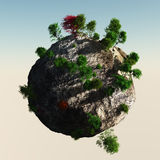 Liten planet med träd Royaltyfri Foto