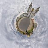 Liten planetpanorama av domkyrkan för helig ande, Minsk, Vitryssland arkivbild