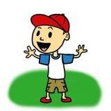 Liten pojke med baseballhatten (vit) Arkivbild