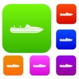 Liten powerboatuppsättningsamling royaltyfri illustrationer
