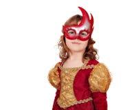 Liten princess med maskeringen Arkivbild