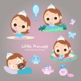 Liten prinsessa Beauty Daily Activities stock illustrationer