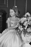 Liten prinsessa för monokromt tappningfoto Royaltyfri Foto