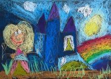 Liten prinsessa med en trollspö och hennes slott vektor illustrationer