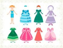 Liten prinsessa och henne klänningar Royaltyfri Foto