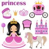 Liten prinsessa, slott och vagn vektor illustrationer