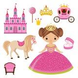 Liten prinsessa, slott och vagn royaltyfri illustrationer