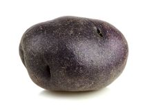 Liten purpurfärgad potatis som isoleras på vit royaltyfria bilder