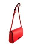 Liten röd handväska som isoleras på vit bakgrund, främre sikt Arkivfoton
