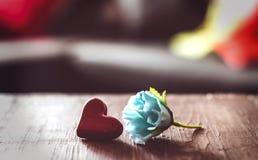 Liten röd hjärta- och blåttros på tabellen royaltyfri bild
