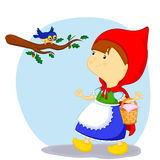 Liten röd ridninghuv och fågeln Royaltyfri Bild
