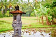 Liten relikskrin på en risfält nära Ubud i Bali Royaltyfria Bilder