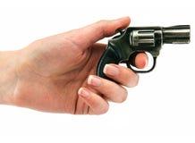 liten revolver för kvinnligtrycksprutahand Fotografering för Bildbyråer