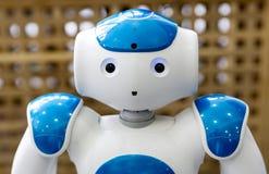 Liten robot med den mänskliga framsidan och kroppen ai royaltyfri bild