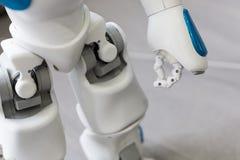 Liten robot med den mänskliga framsidan och kroppen Hand och ben Royaltyfria Bilder