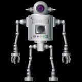 Liten robot som är elektronisk, datorapparat Arkivfoto