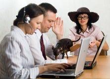 Liten rolig hund på kontorsskrivbordet Royaltyfri Bild