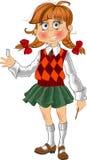 liten rolig schoolgirl Arkivbild