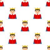 Liten sömlös modell för konung Avatar Flat Icon royaltyfri illustrationer