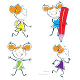 Liten schoolgirl Royaltyfria Bilder