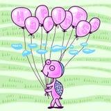 Liten sköldpadda med ballonger Arkivfoto
