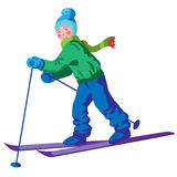 Liten skidåkare Stock Illustrationer