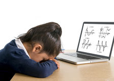 Liten skolflicka som borras och tröttas med datormatematikläxa Arkivfoto